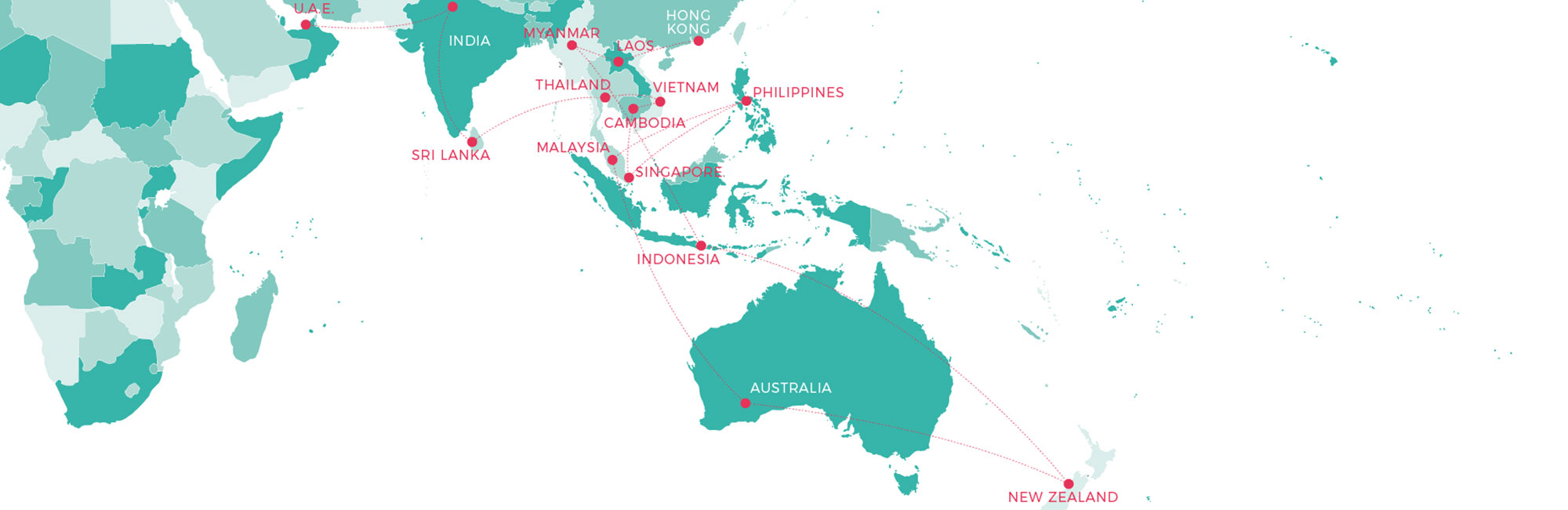 South East Asia map outlining Itinerary for travel plans